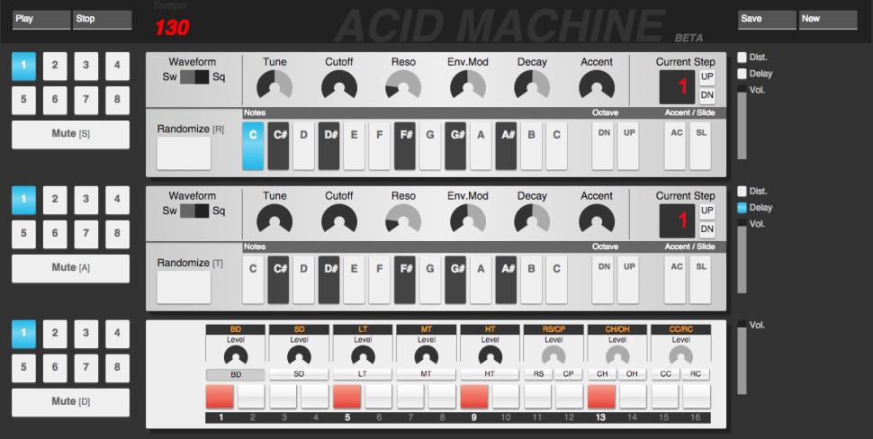 Confira a Acid Machine, o primeiro emulador web da TB 303 acid machine, acid techno, chrome, errozero, propellerhead, rebirth, TB 303, track